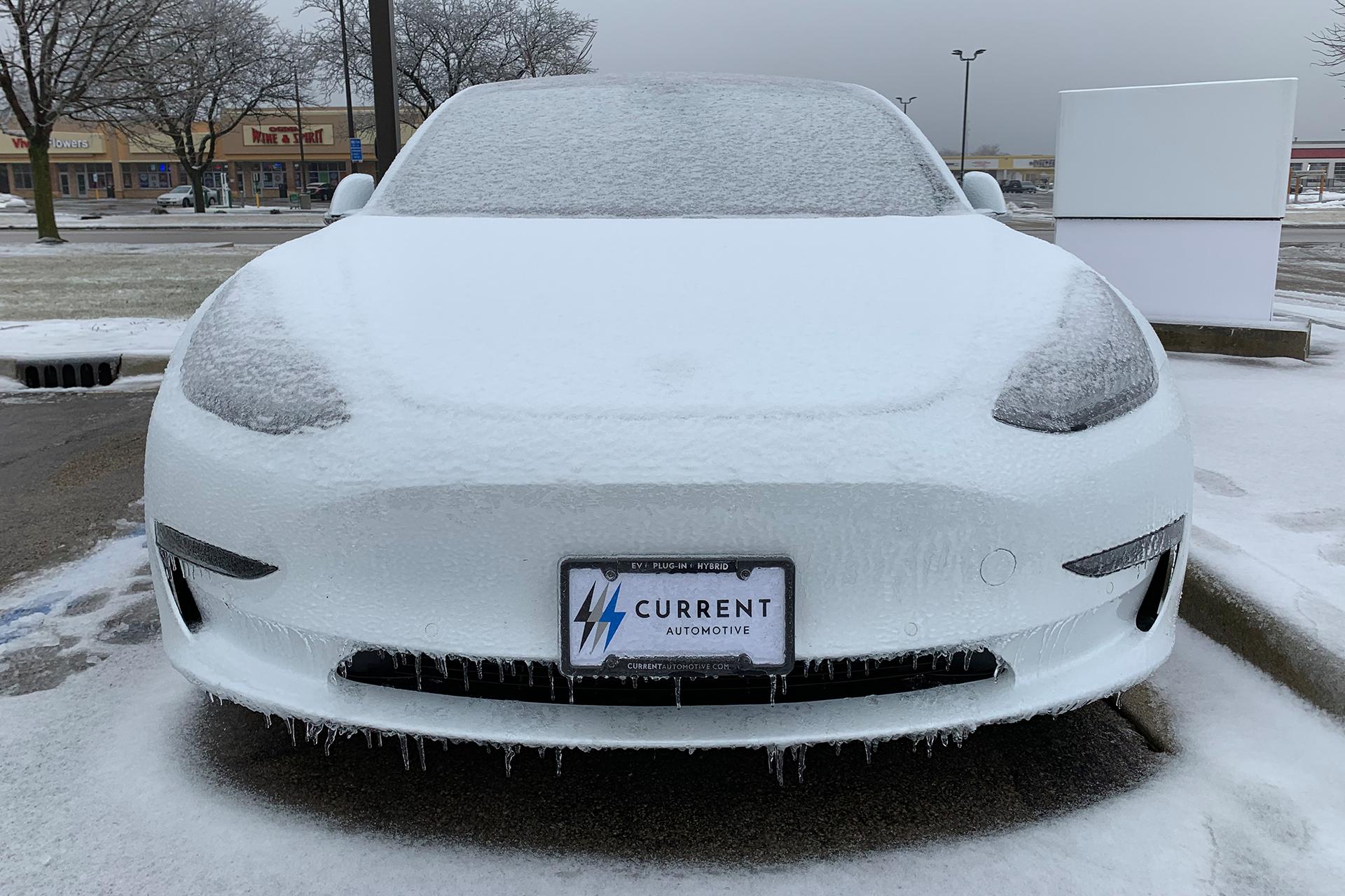 Icy Tesla Model 3