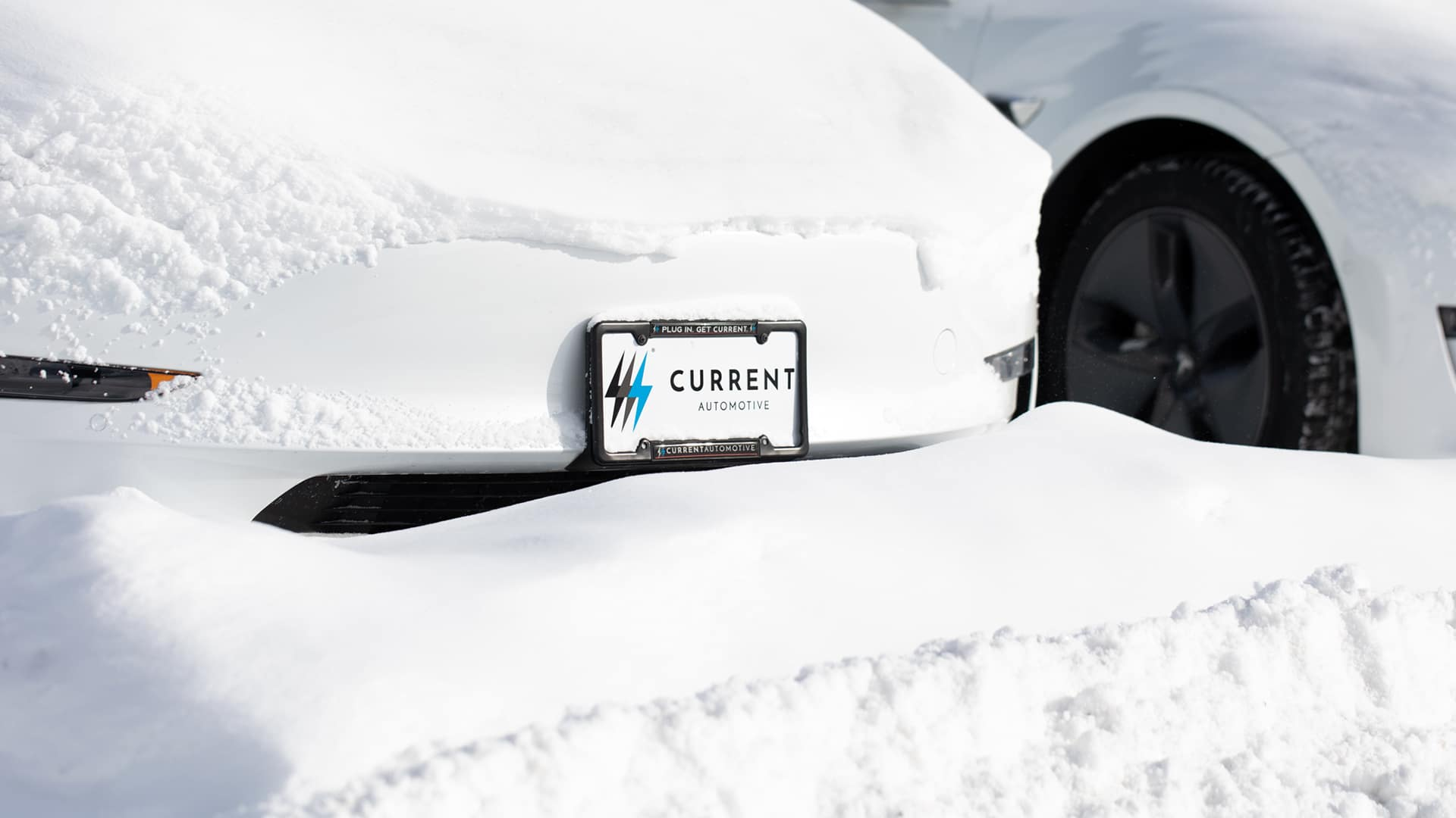 Snow Covered Tesla Model 3