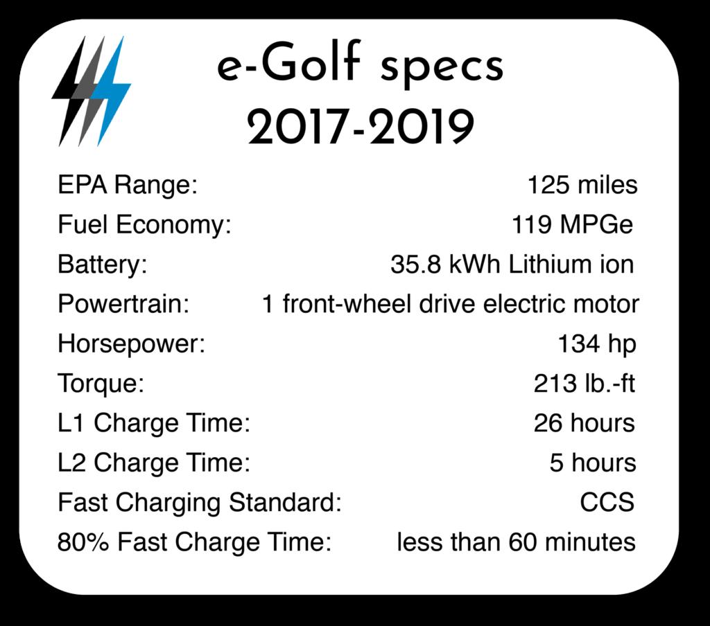 2017-2019 e-Golf Specs