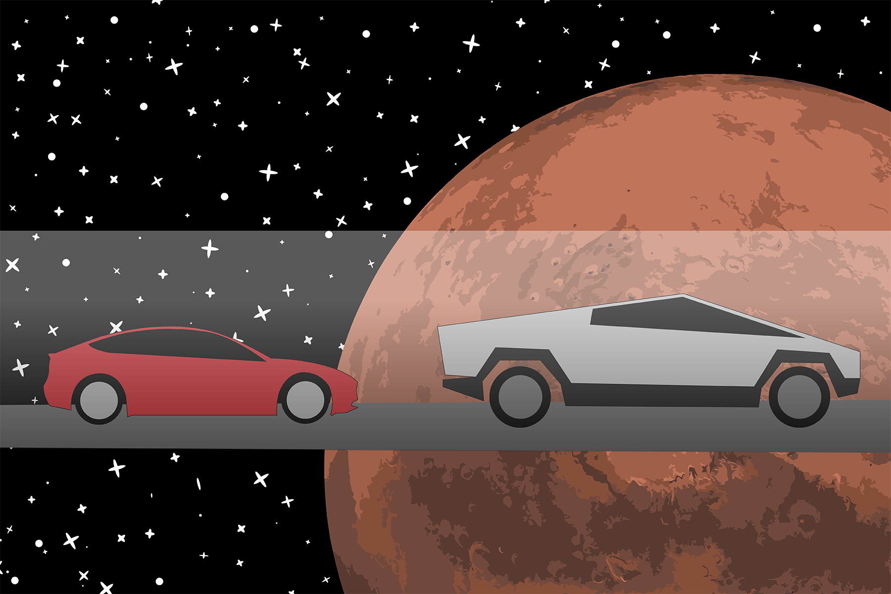 Model 3 Driving to Mars