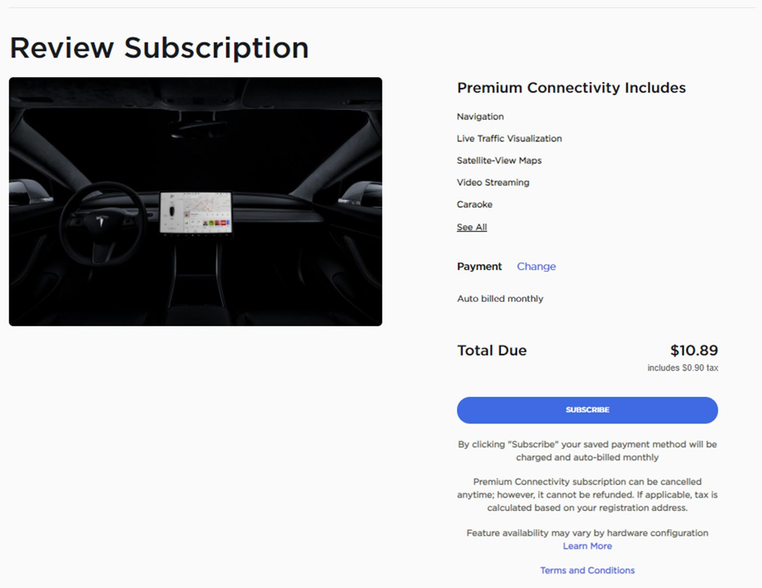 Tesla Premium Connectivity Order Screen