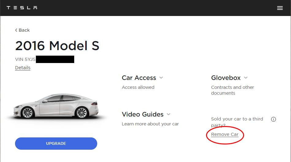 Tesla Remove Car