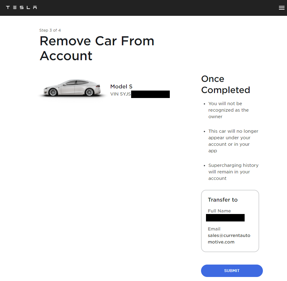 Tesla Ownership Transfer Confirmation Page