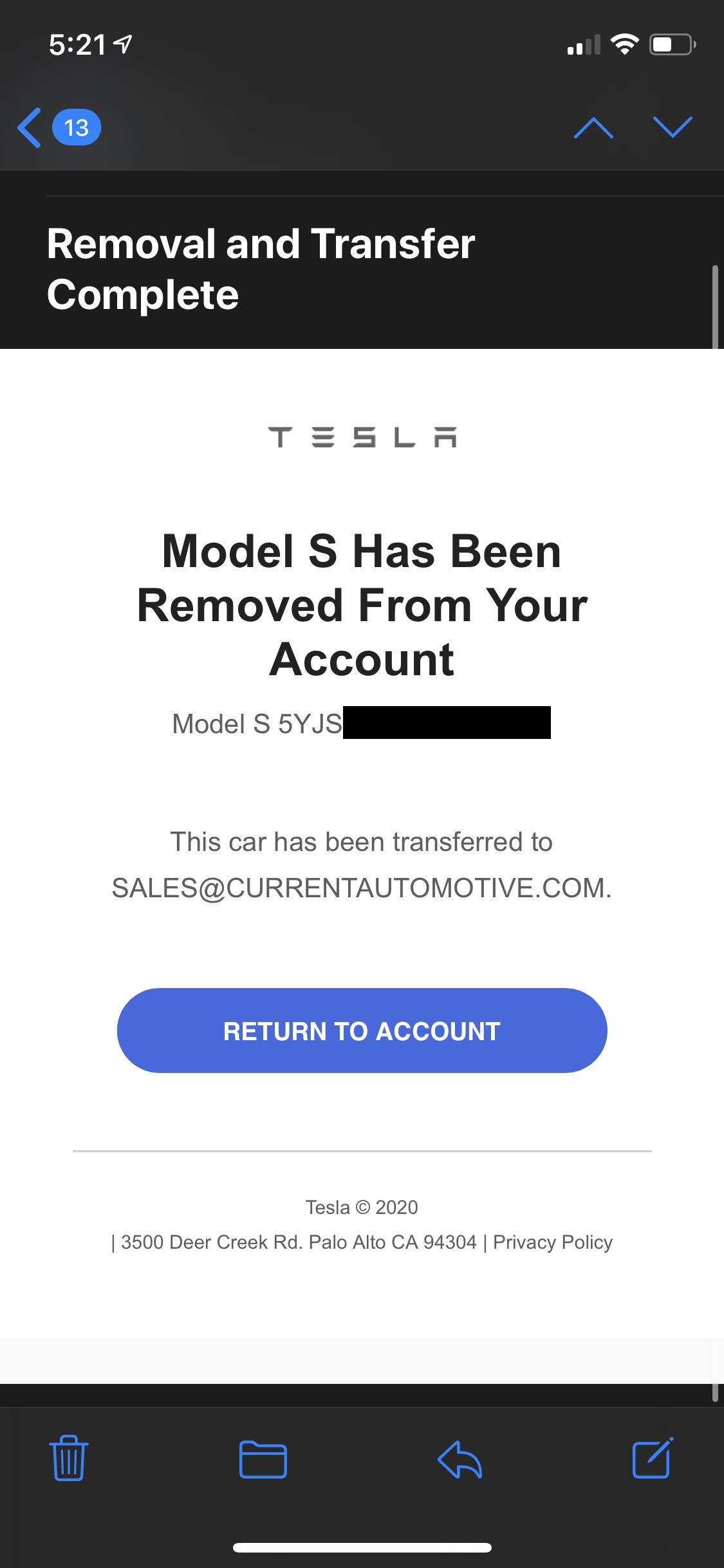 Tesla Ownership Transfer