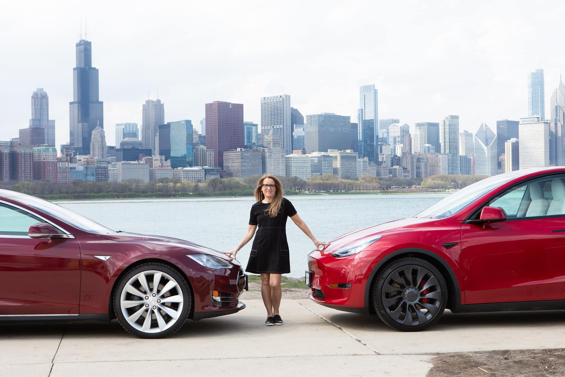 2012 Model S Signature Performance and 2020 Model Y Along the Chicago Lakefront