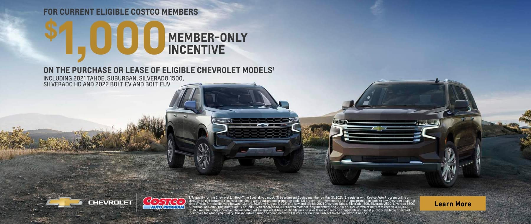 $1000 Member-only incentive on purchase or lease of eligible Chevrolet models