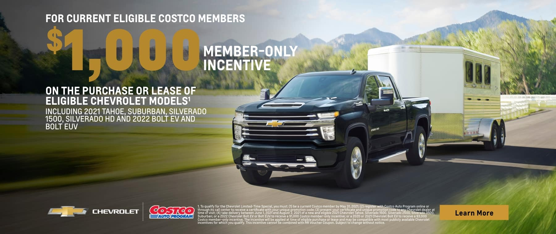$1000 Member-only incentive on the purchase or lease of eligible models