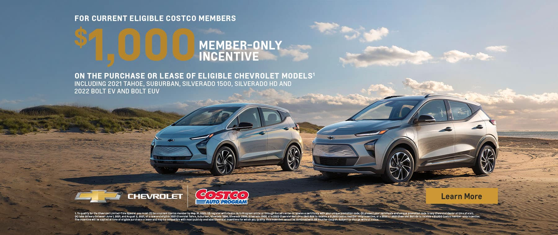 $1000 Member only incentive on purchase or lease of eligible Chevrolet Models