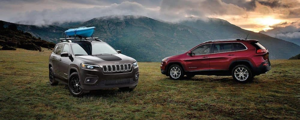 2020 Jeep Cherokee models parked in a field