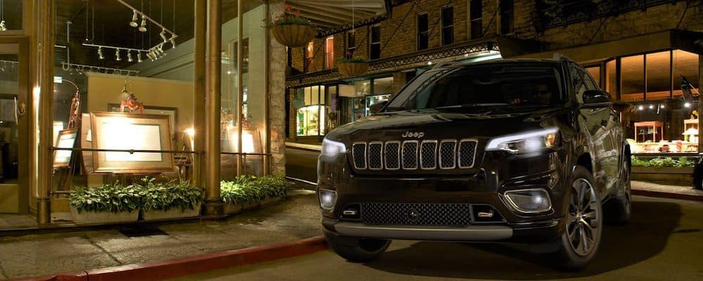 2020 Jeep Cherokee on a city street at night