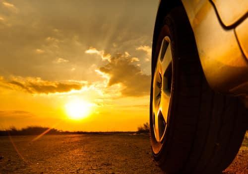Car in bright sunlight