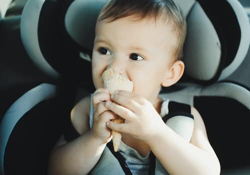 Eating food in a car