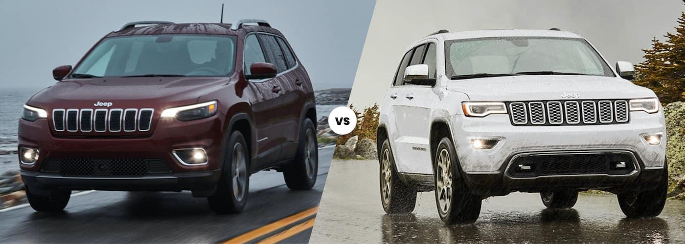 2021 jeep cherokee maroon exterior vs 2021 jeep grand cherokee white exterior