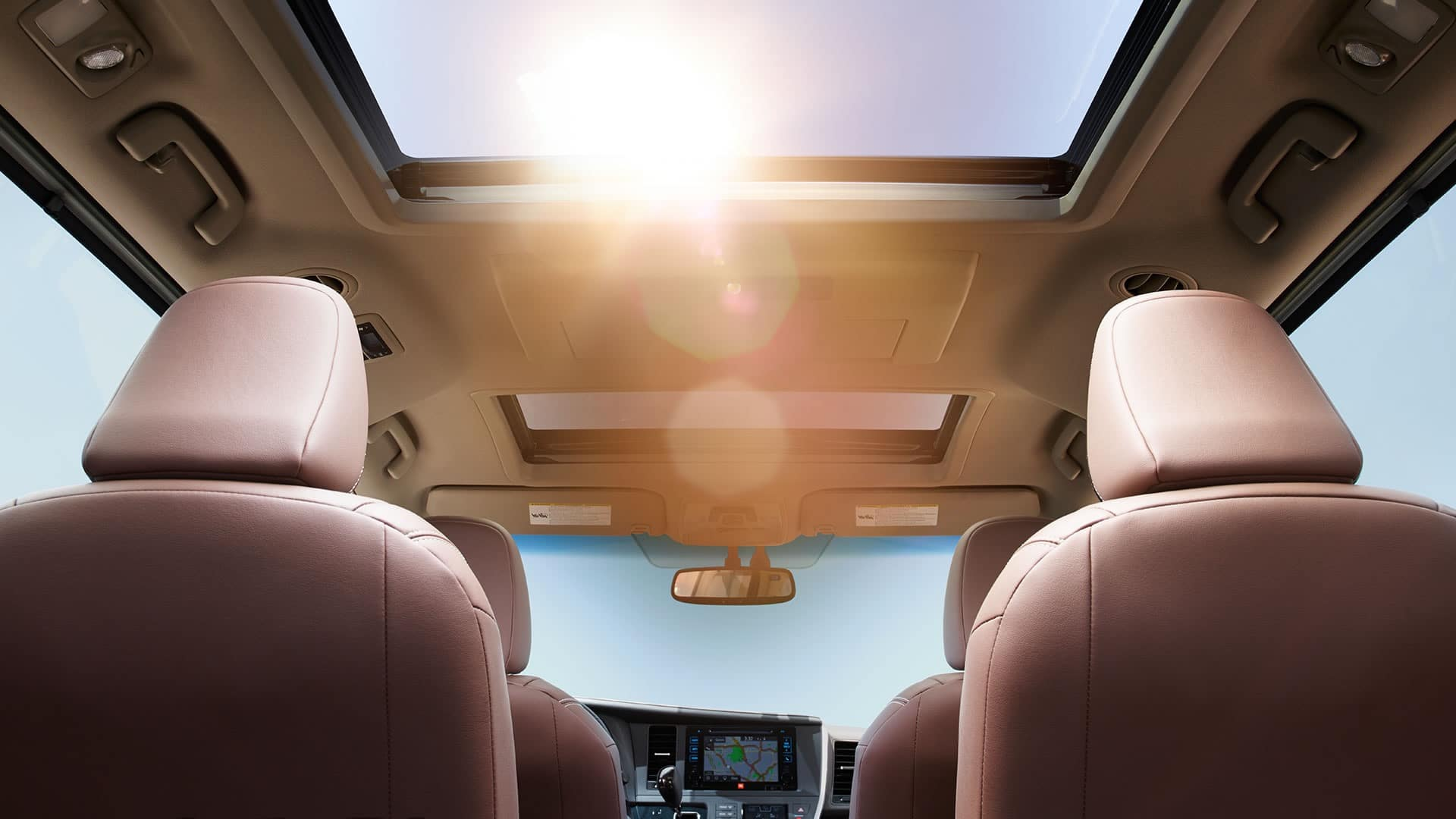 2017 Toyota Sienna Limited Premium FWD interior Chestnut with White Accent Stitching