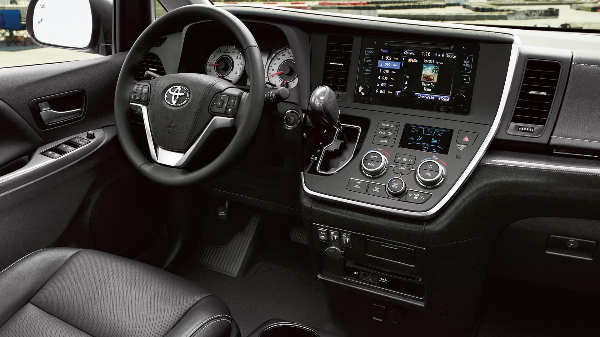 2017 Toyota Sienna SE Premium Interior Black with White Accent Stitching Dashboard