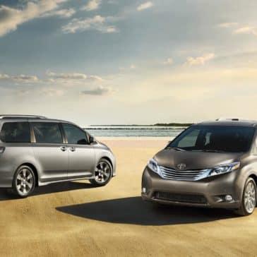 2017-Toyota-Sienna-SE-Premium-Silver-Sky-Metallic-and-Limited-Premium-FWD-Predawn-Gray-Mica