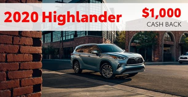 2020 Highlander Hybrid Cash Back Special