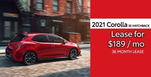 2021 Corolla Hatchback SE Lease Special