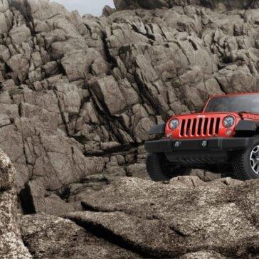 2017 Jeep Wrangler on a boulder