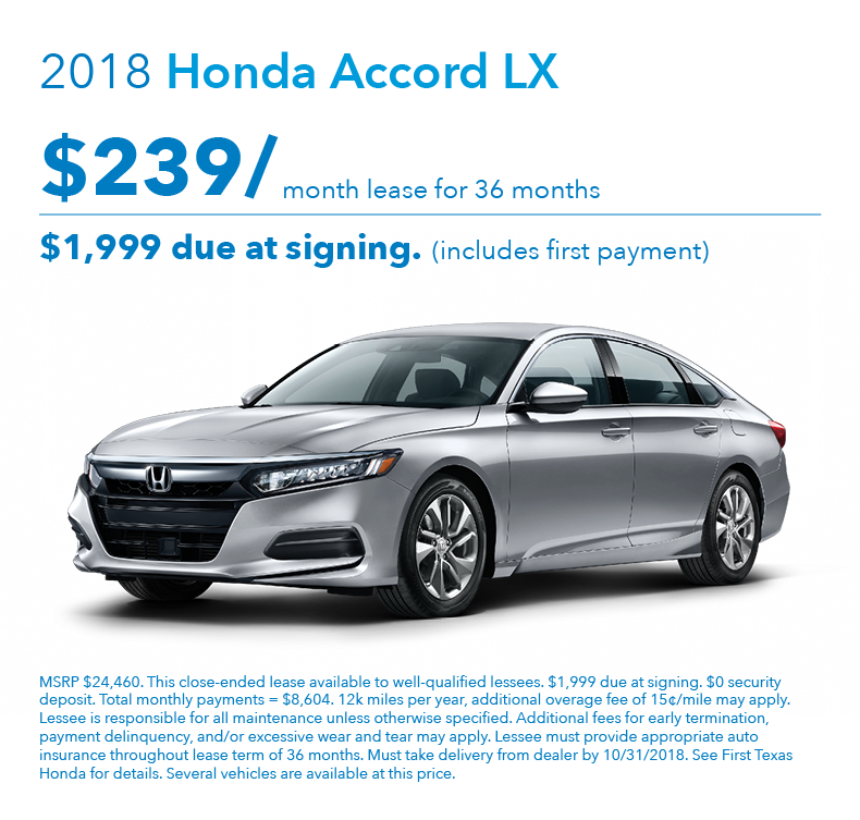 Honda Lease Payment >> Accord Lx Lease Offer First Texas Honda