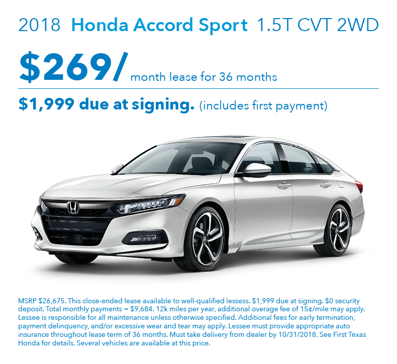 Honda Lease Payment >> Accord Sport Lease Offer First Texas Honda