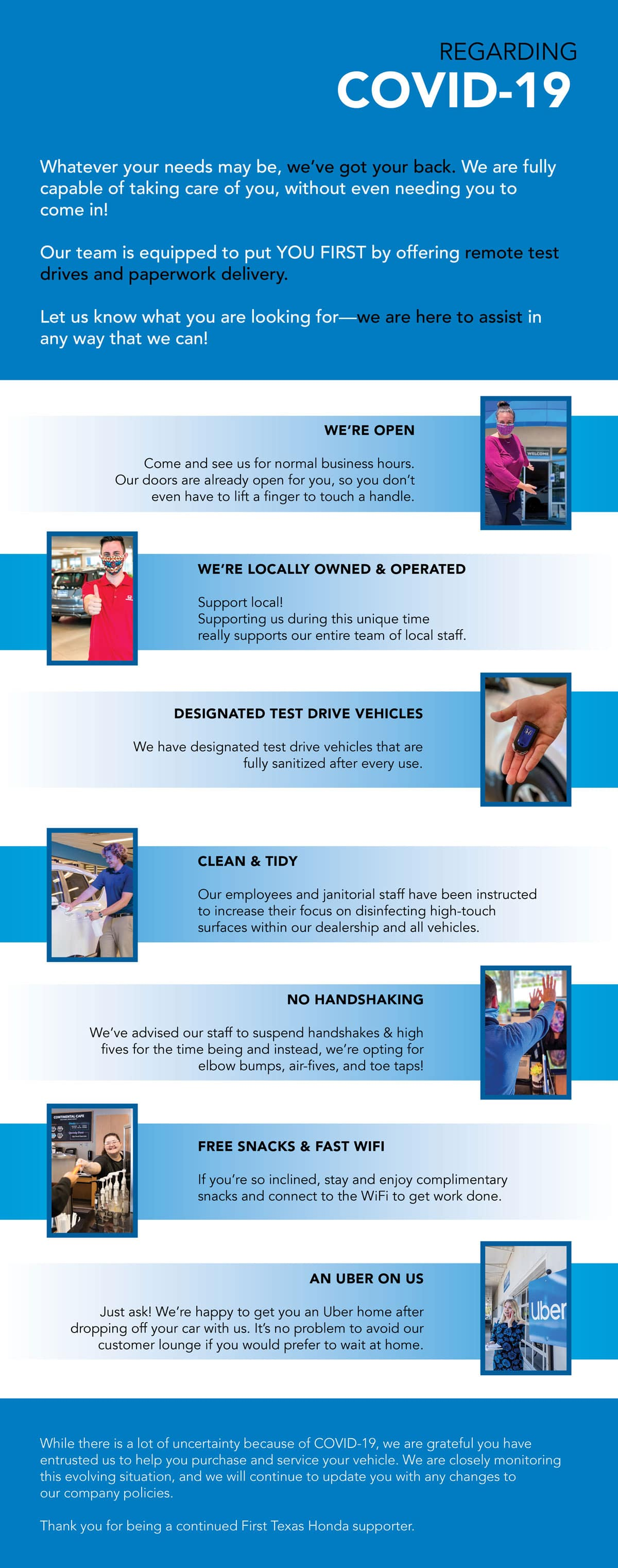 Check out how First Texas Honda is helping you during COVID-19!