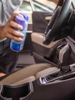 sanitizing high use areas of vehicle
