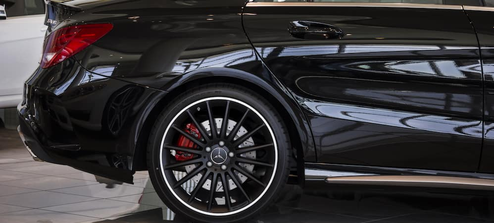 Rear Mercedes-Benz wheel and tire