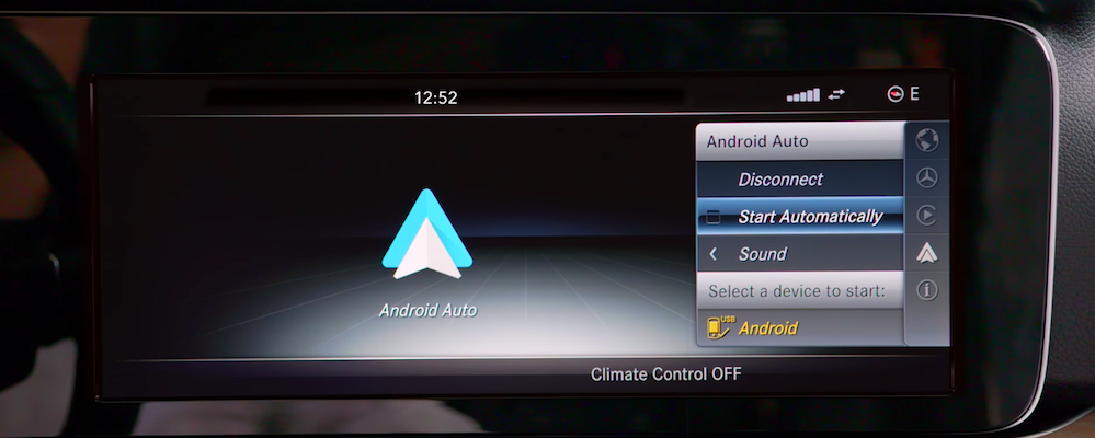 Android Auto setup screen on Mercedes-Benz interface