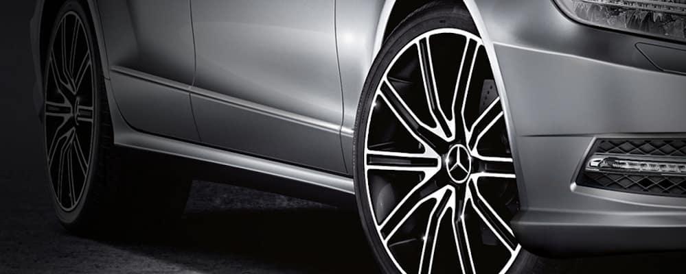 Closeup of Mercedes-Benz light alloy wheels