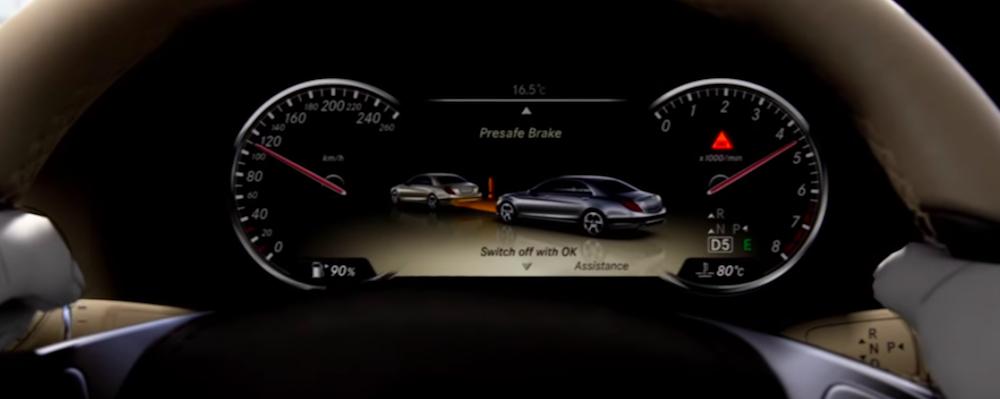 PRESAFE display on gauge cluster inside Mercedes-Benz