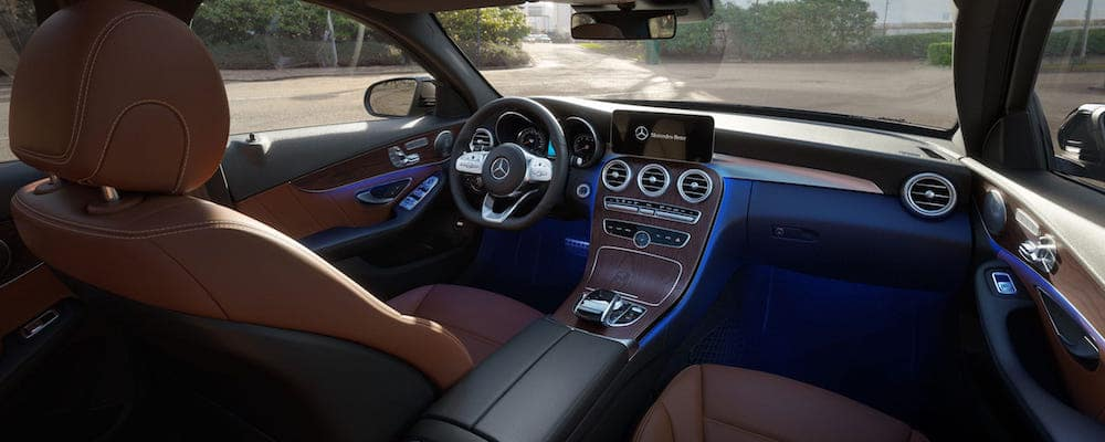 Front-seat view of 2020 C-Class Sedan interior from perspective of passenger seat