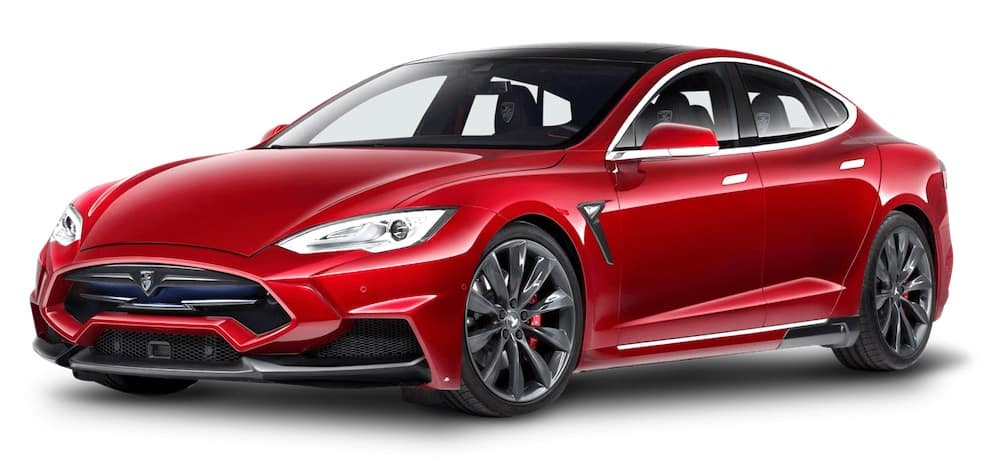 Tesla Model S Red Electric Car 2018