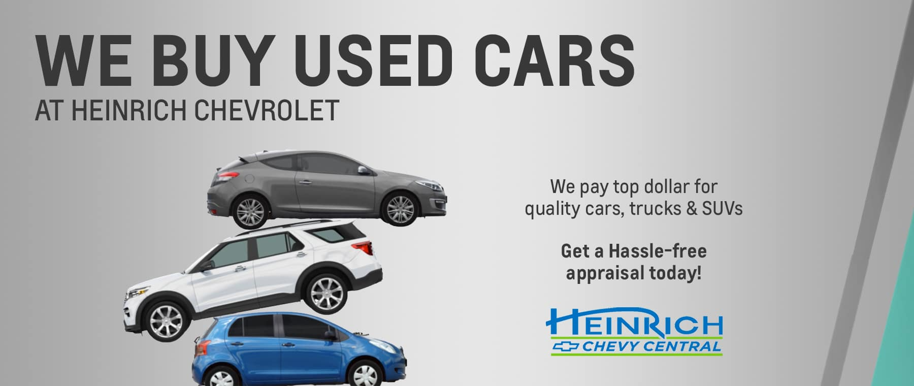 We want to buy your used vehicle and will pay the best price