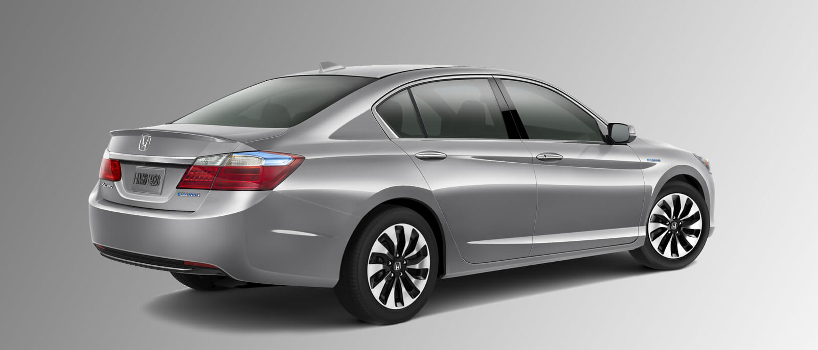 2015 Honda Accord Hybrid rear view in silver