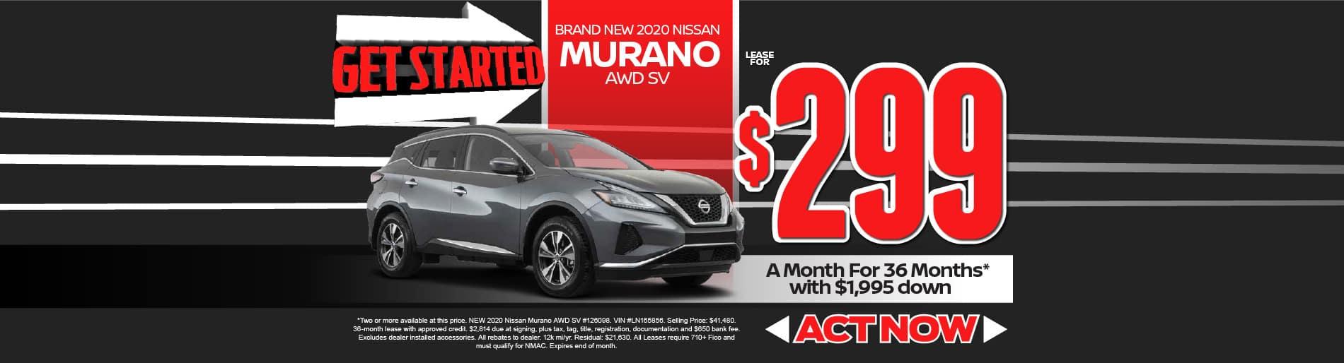 2020 Nissan Murano $299/mo - view inventory