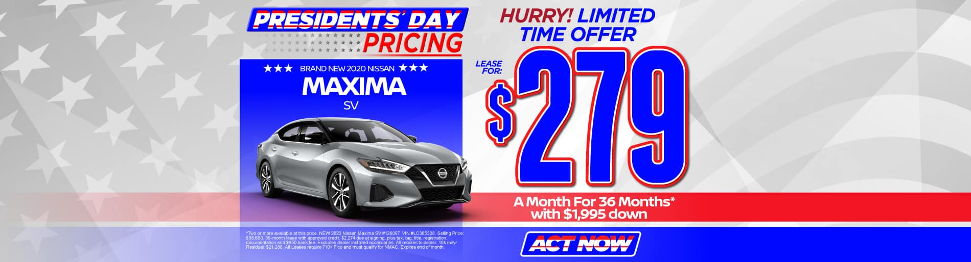 2020 Nissan Maxima lease for $279 per month | click here to view inventory