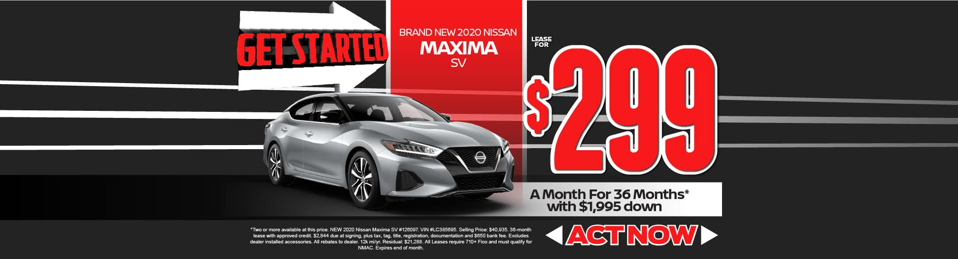 2020 Nissan Maxima lease for $299 per month | click here to view inventory