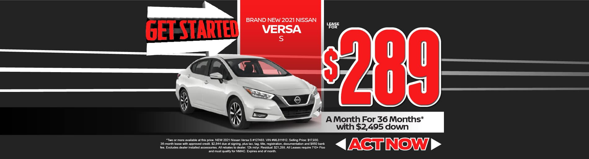 2021 Nissan Versa lease $289/month - click here to view inventory