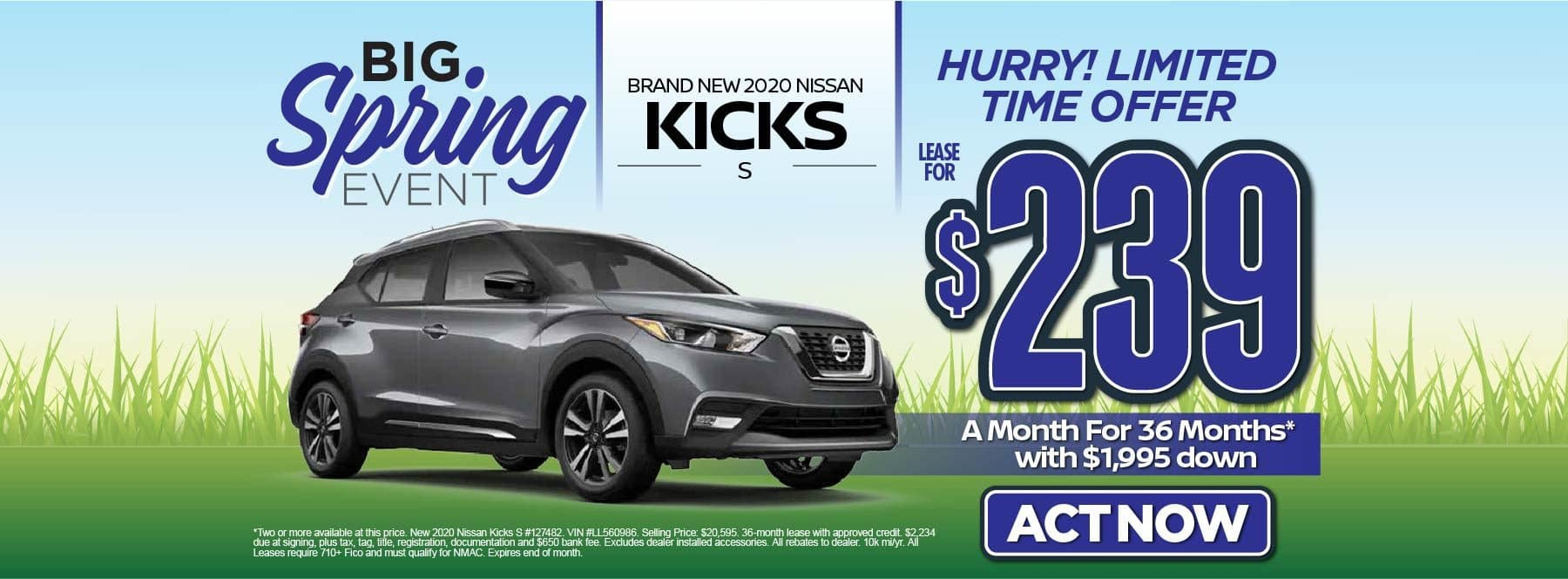 New 2020 Nissan Kicks S – Lease for $239/mo for 36 months with $1,995 Down* Act now.