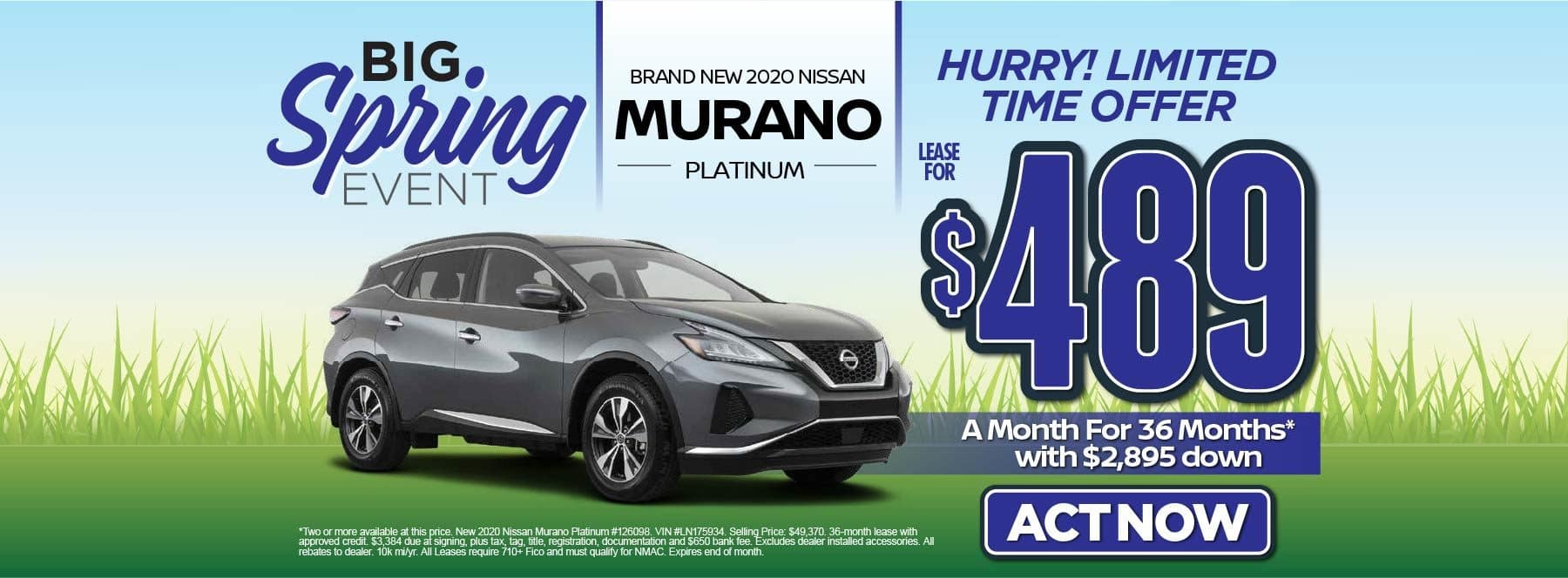 New 2020 Nissan Murano Platinum – Lease for $489/mo for 36 months with $2,895 Down* Act now.