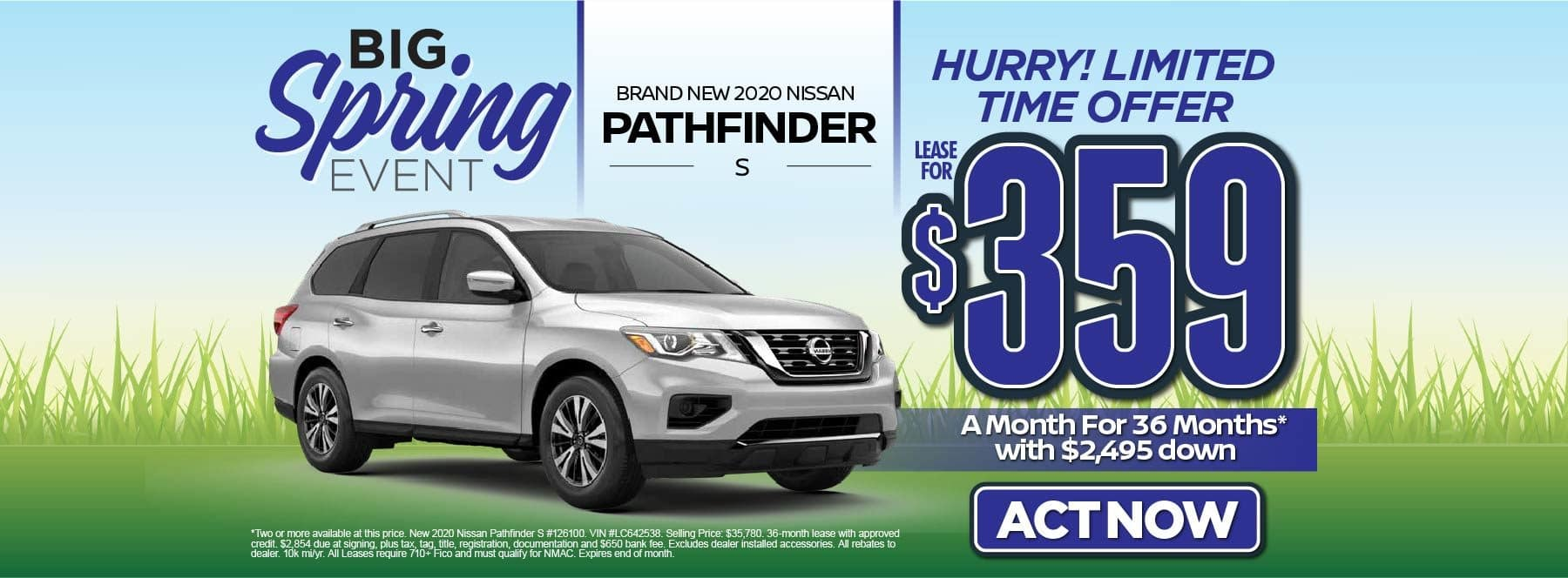 New 2020 Nissan Pathfinder S – Lease for $359/mo for 36 months with $2,495 Down* Act now.