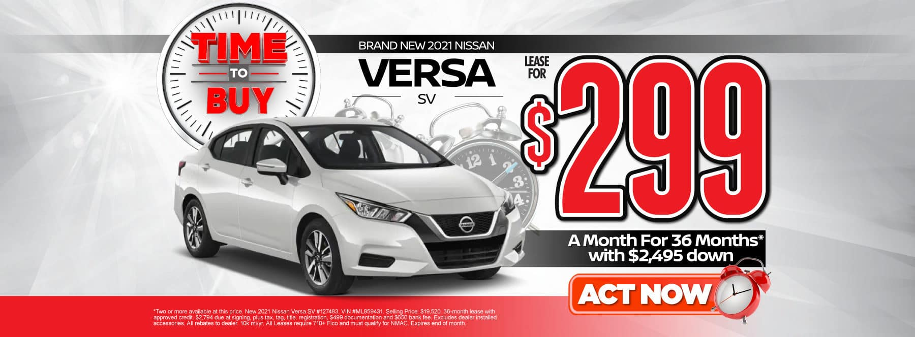 New 2021 Nissan Versa | Lease for $299 a month | Act Now