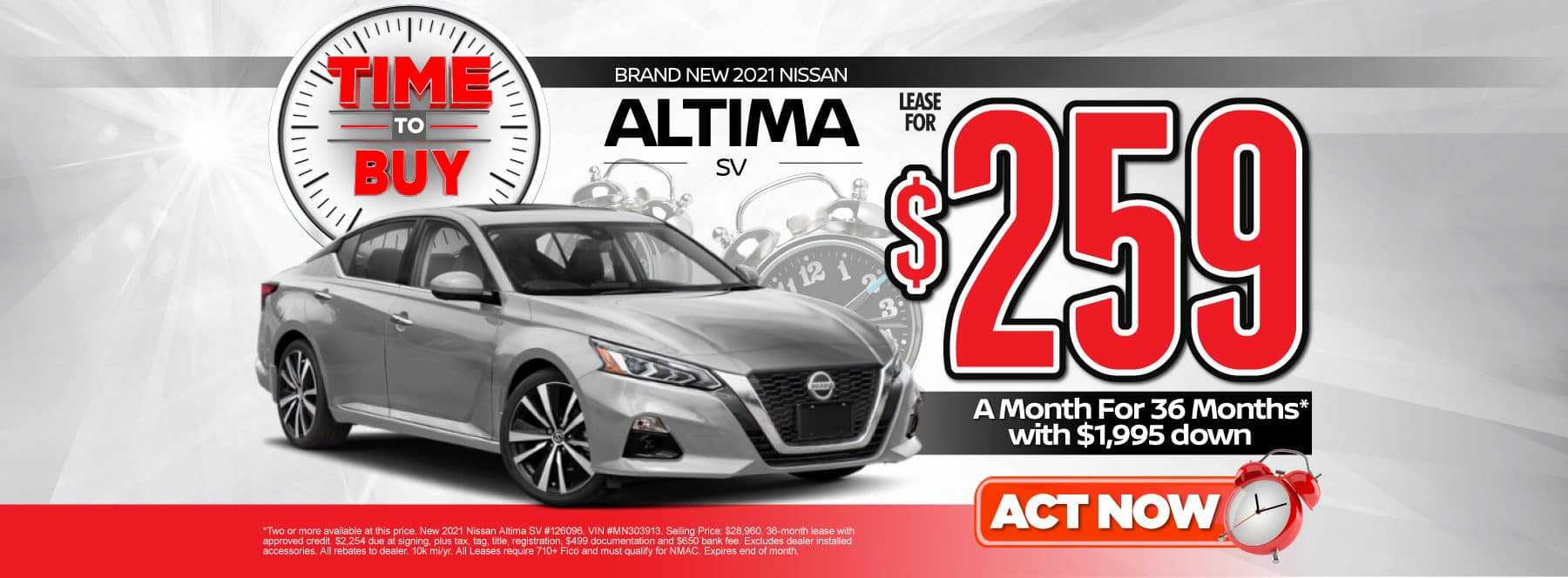 New 2021 Nissan Altima | Lease for $259 a month | Act Now