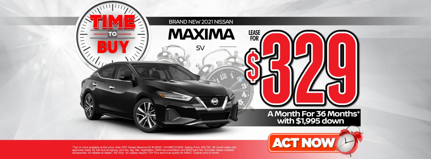 New 2021 Nissan Maxima | Lease for $329 a month | Act Now