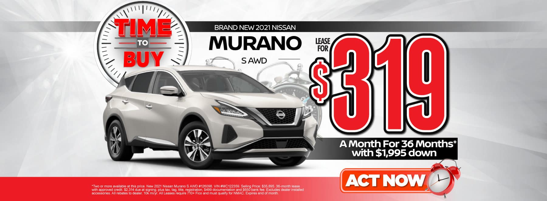 New 2021 Nissan Murano | Lease for $319 a month | Act Now