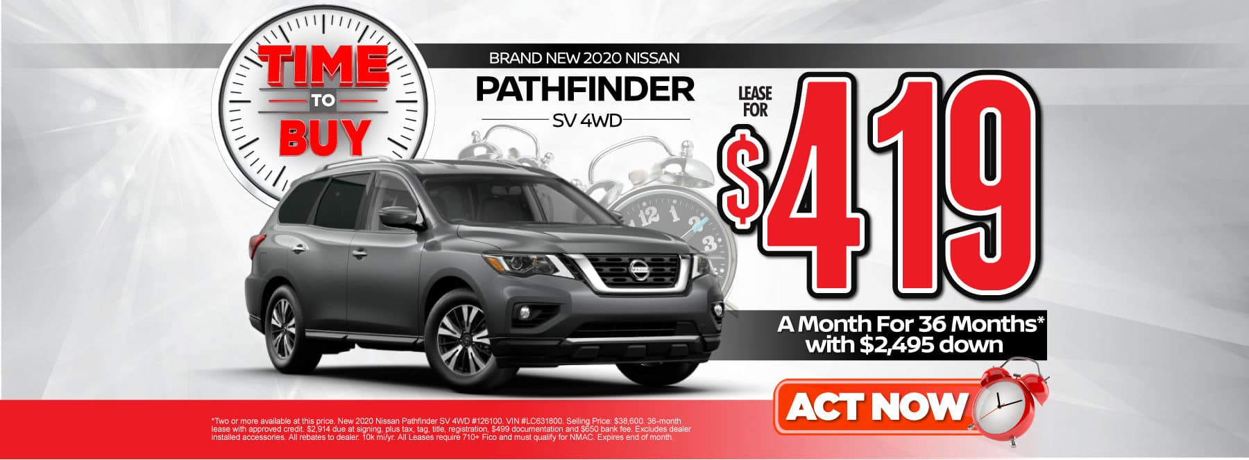 New 2020 Nissan Pathfinder | Lease for $419 a month | Act Now