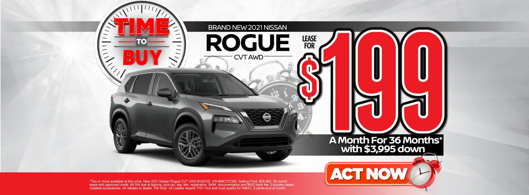 New 2021 Nissan Rogue | Lease for $199 a month | Act Now