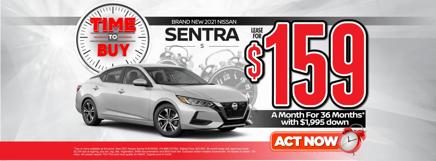 New 2021 Nissan Sentra | Lease for $159 a month | Act Now