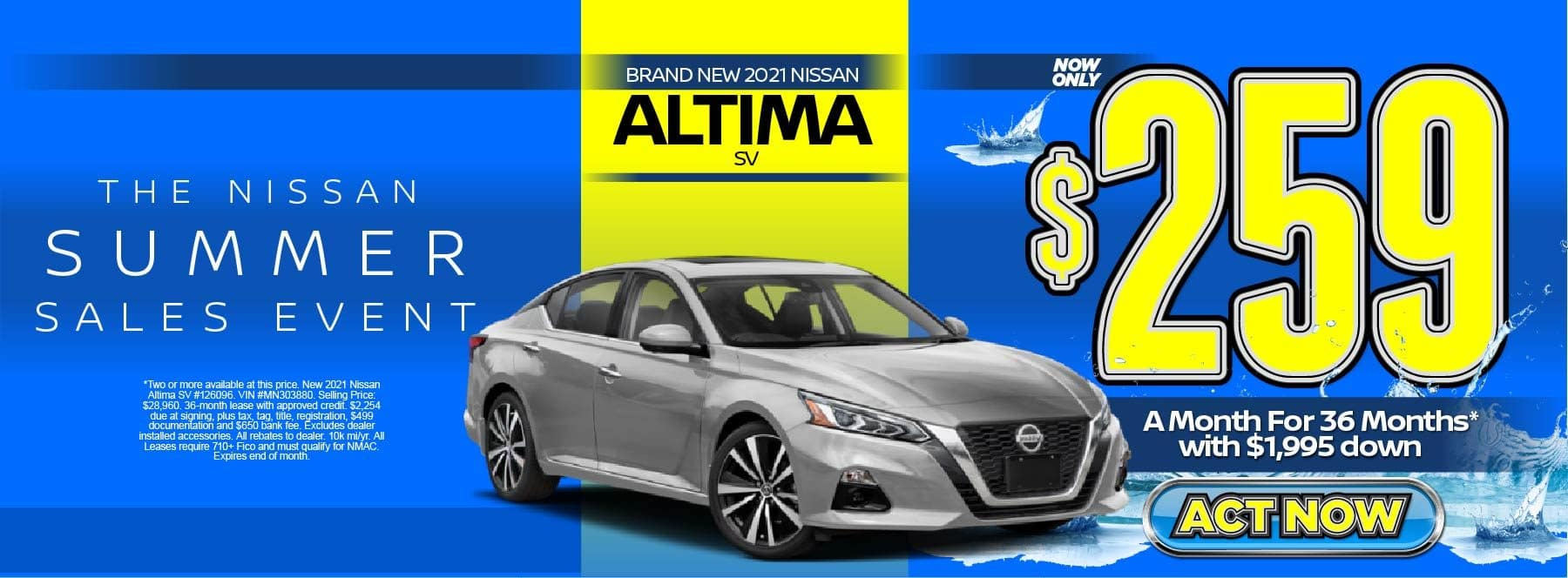New 2021 Nissan Altima SV – Lease for $259/mo for 36 months with $1,995 Down* Act now.